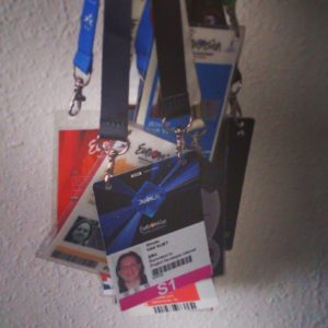 A collection of Eurovision Song Contest accreditation badges